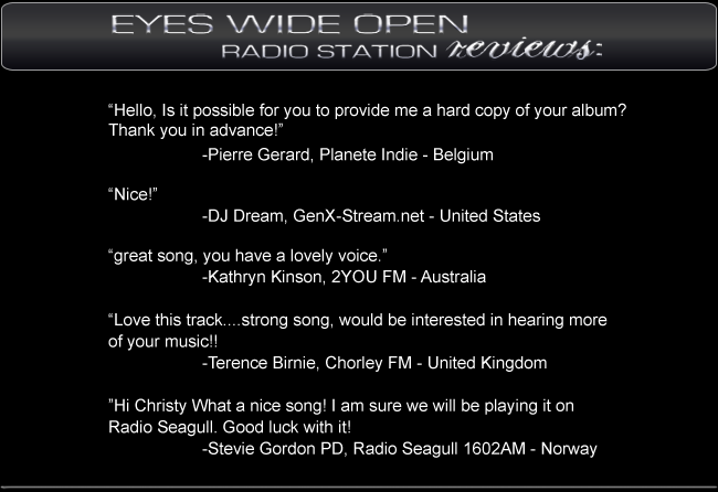 Radio Station Reviews of Eyes Wide Open